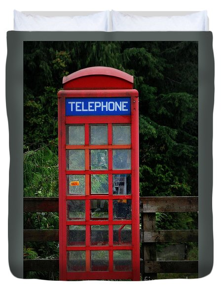 Duvet Cover featuring the photograph Phone Home by Myrna Bradshaw
