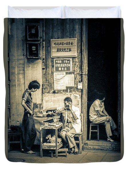 Duvet Cover featuring the photograph Phonecall On Chinese Street by Heiko Koehrer-Wagner