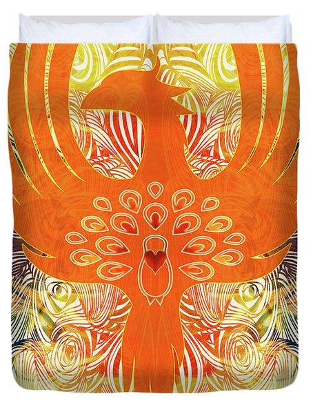 Phonix Rising Abstract Healing Art By Omashte Duvet Cover