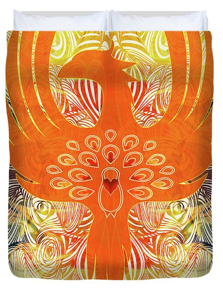 Phonix Rising Abstract Healing Art By Omashte Duvet Cover