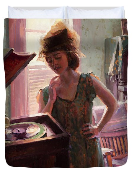 Phonograph Days Duvet Cover