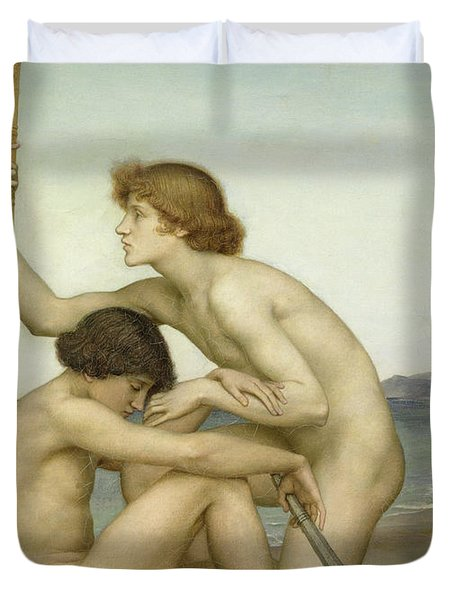 Phosphorus And Hesperus Duvet Cover by Evelyn De Morgan