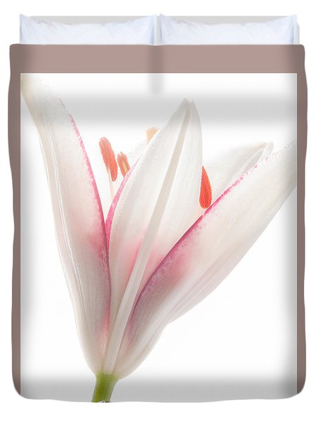 Photograph Of A Pale Lily Opening II Duvet Cover