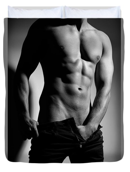 Photograph Of A Sexy Man In Black And White #9981g Duvet Cover