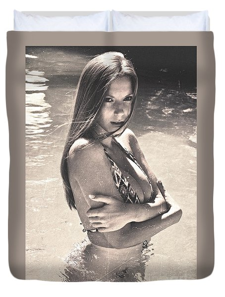 Photograph Vintage Summer Look With Woman In Bikini #8624m Duvet Cover