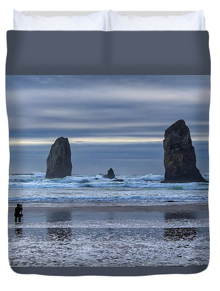 Photographer At Cannon Beach Duvet Cover by David Gn