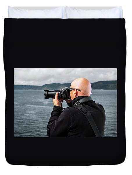Photographer At Work Duvet Cover