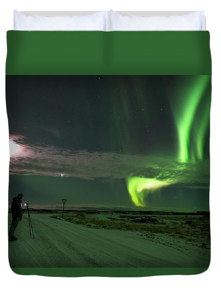 Duvet Cover featuring the photograph Photographer Under The Northern Light by Dubi Roman