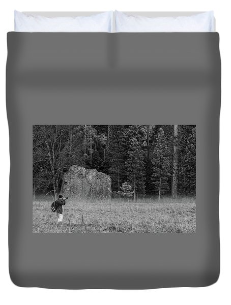 Photographer In The Valley Duvet Cover