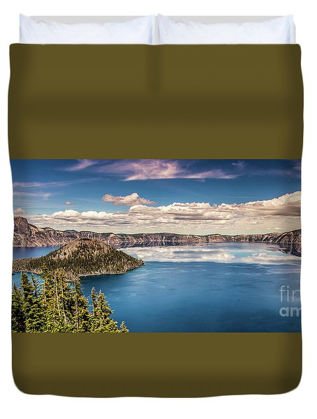 Duvet Cover featuring the photograph Crater Lake by Jim Adams