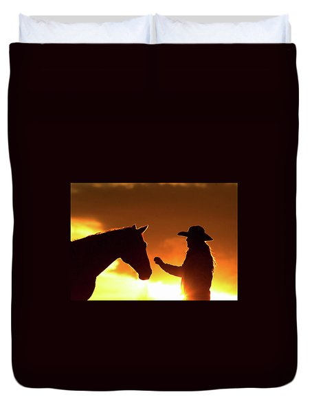 Cowgirl Sunset Sihouette Duvet Cover