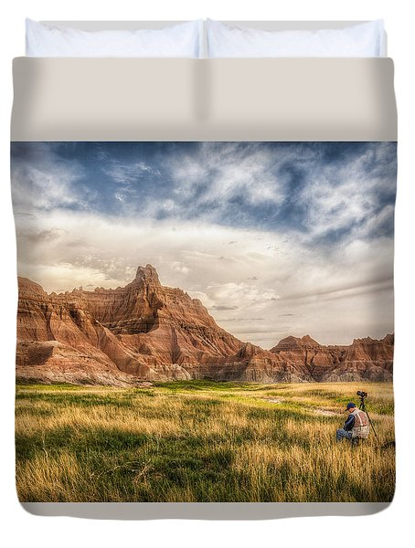 Photographer Waiting For The Badlands Light Duvet Cover by Rikk Flohr