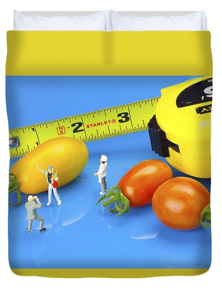Duvet Cover featuring the photograph Photography Of Tomatoes Little People On Food by Paul Ge