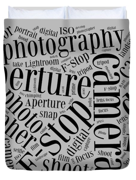 Photography Word Cloud Duvet Cover