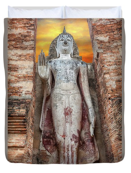 Duvet Cover featuring the photograph Phra Attharot Buddha by Adrian Evans