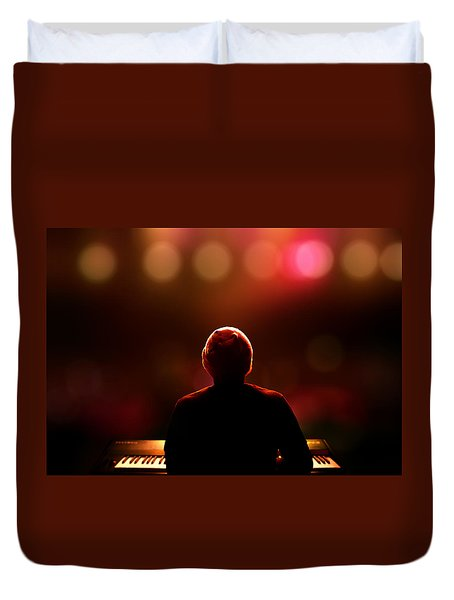 Pianist On Stage From Behind Duvet Cover