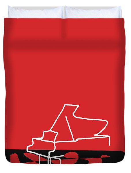 Piano In Red Duvet Cover by David Bridburg