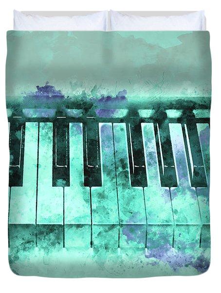 Piano Keyboard Watercolor Duvet Cover