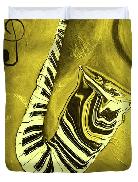 Piano Keys In A  Saxophone Golden - Music In Motion Duvet Cover
