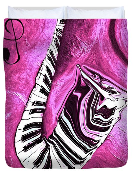 Piano Keys In A Saxophone Hot Pink - Music In Motion Duvet Cover