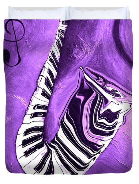 Piano Keys In A Saxophone Purple - Music In Motion Duvet Cover