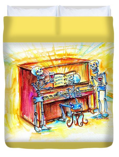 Duvet Cover featuring the painting Piano Man by Heather Calderon