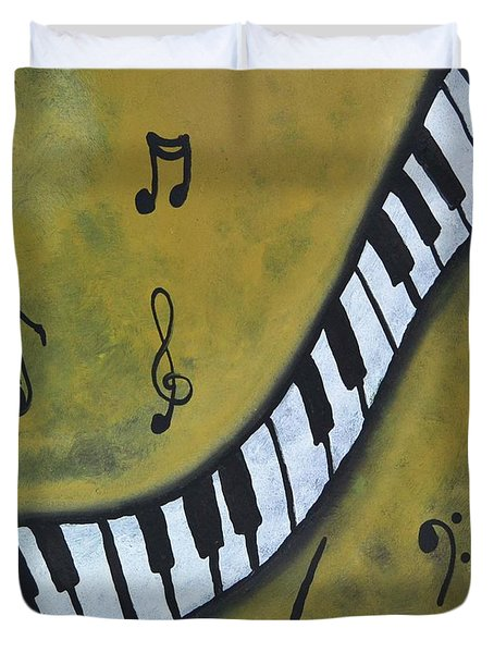 Piano Music Abstract Art By Saribelle Duvet Cover by Saribelle Rodriguez