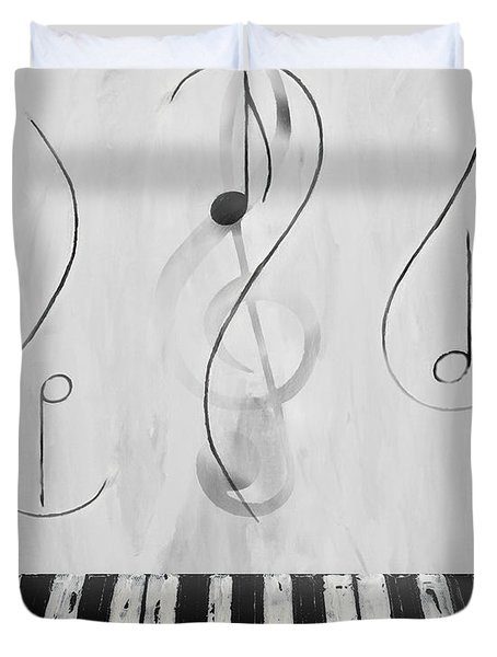 Piano Play B/w Duvet Cover