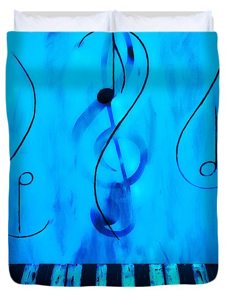 Piano Play Blue Duvet Cover