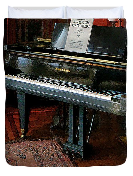 Piano With Sheet Music Duvet Cover by Susan Savad