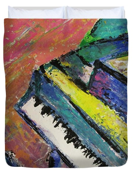 Piano With Yellow Duvet Cover by Anita Burgermeister