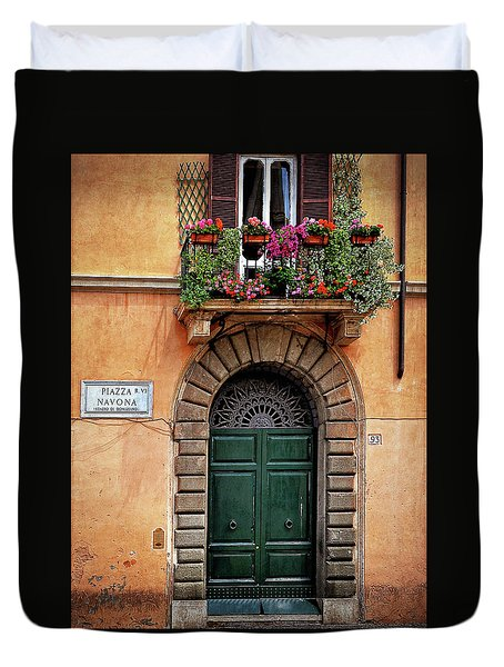 Duvet Cover featuring the photograph Piazza Navona House by Marion McCristall