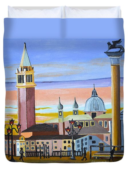 Piazza San Marco Duvet Cover by Donna Blossom