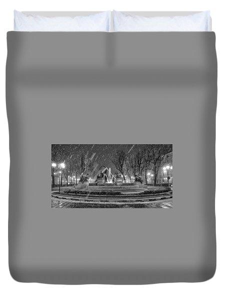 Piazza Solferino In Winter-1 Duvet Cover by Sonny Marcyan