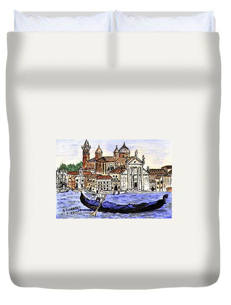 Piazzo San Marco Venice Italy Duvet Cover by Arlene  Wright-Correll