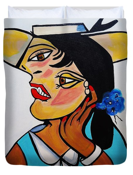Yellow Hat Picasso Duvet Cover