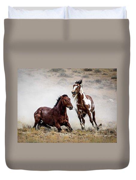 Picasso - Wild Stallion Battle Duvet Cover by Nadja Rider