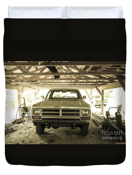 Pick Up Truck In Rural Farm Setting Duvet Cover
