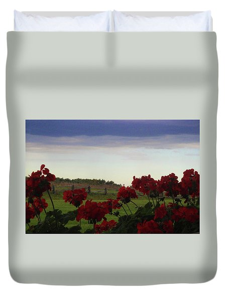 Picket Fence, Flowers And Storms Duvet Cover