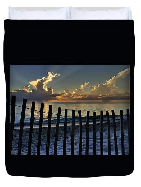Picket Fence On The Beach Duvet Cover