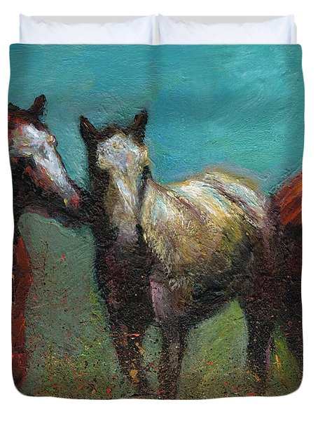 Picking On The New Guy Duvet Cover by Frances Marino