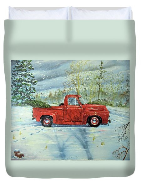 Picking Up The Christmas Tree Duvet Cover