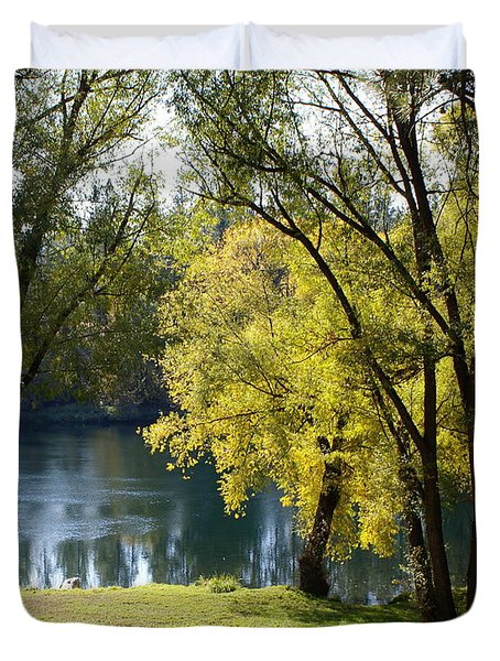 Duvet Cover featuring the photograph Picnic Spot On Spokane River by Ben Upham III