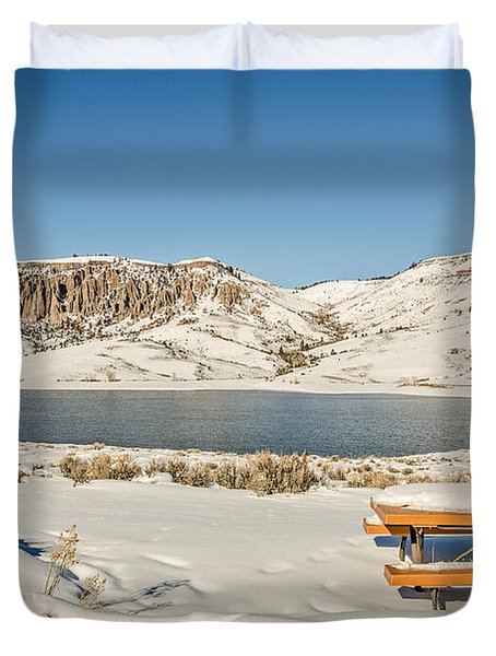 Picnic Table By A River Duvet Cover