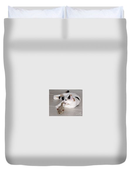 Duvet Cover featuring the photograph Pico And Toy Mouse by Phyllis Kaltenbach