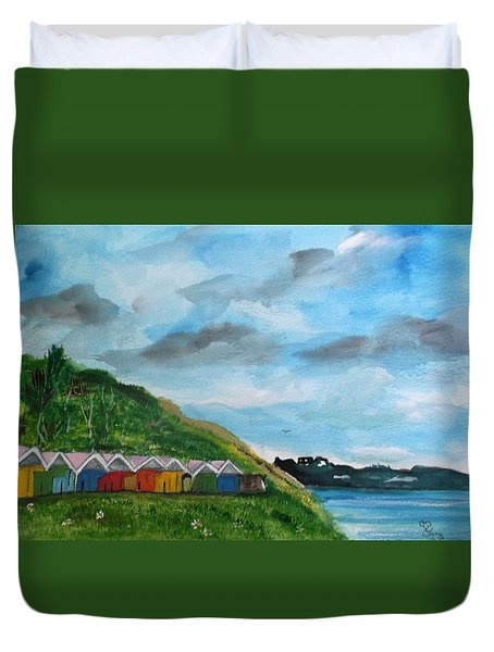 Picture Postcard View Of Scarborough Duvet Cover