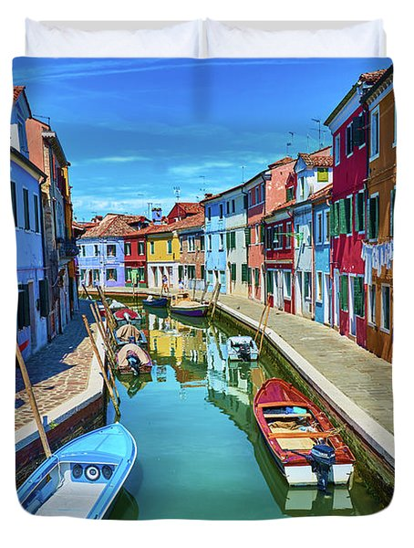Picturesque Buildings And Boats In Burano Duvet Cover