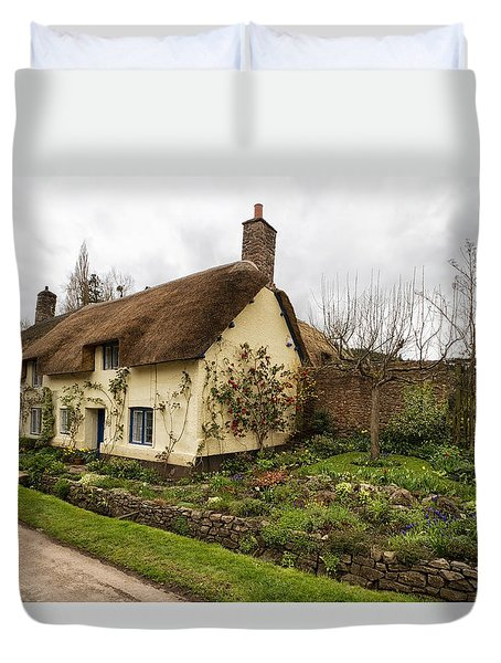 Duvet Cover featuring the photograph Picturesque Dunster Cottage by Shirley Mitchell