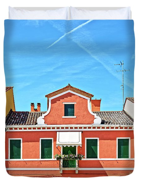 Picturesque House In Burano Duvet Cover