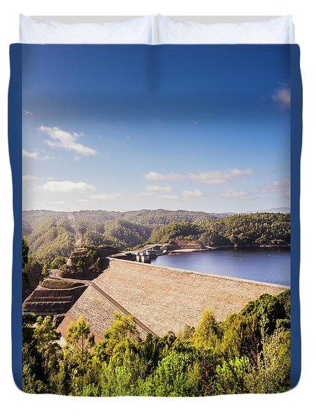 Picturesque Hydroelectric Dam Duvet Cover